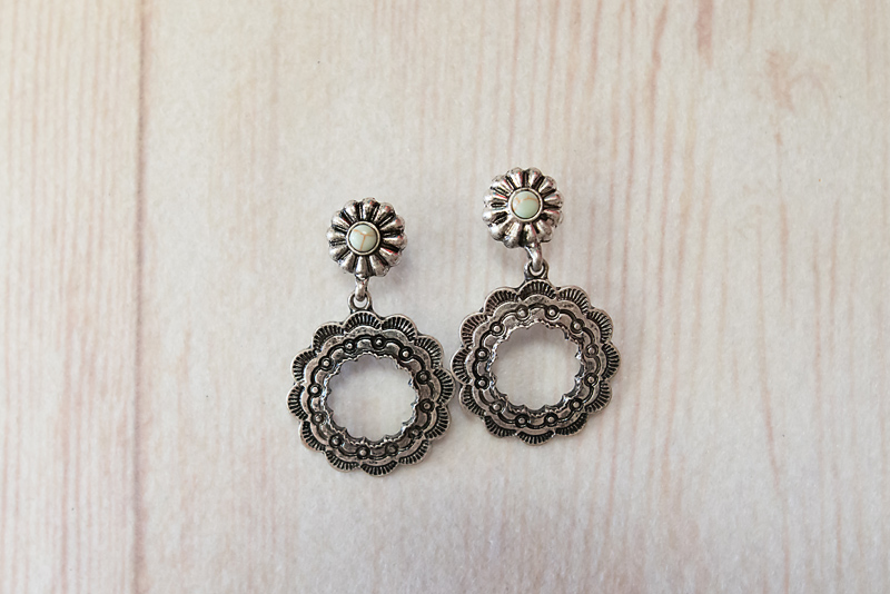 Silver Post with Circle Earrings