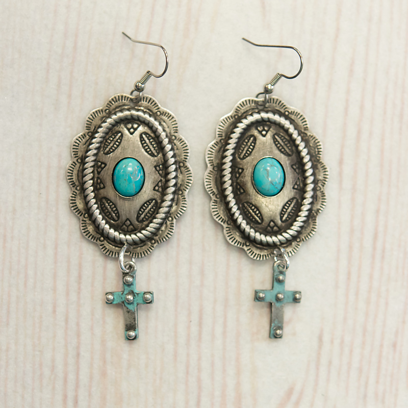 Concho Earring With Oval Turquoise & Cross Dangle(92E14)