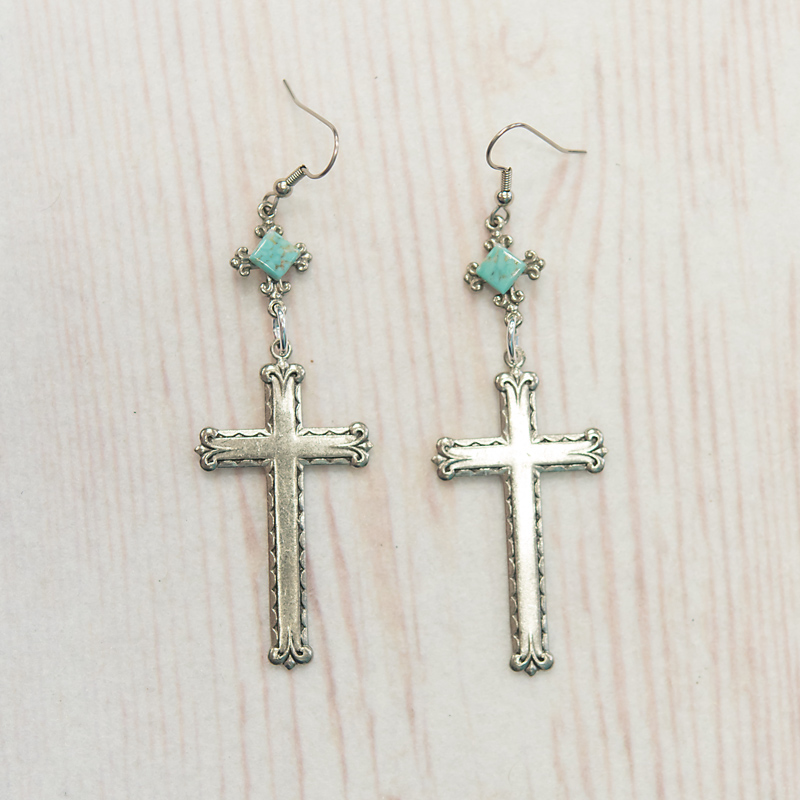Cross Earrings With Turquoise Accent(6E12)