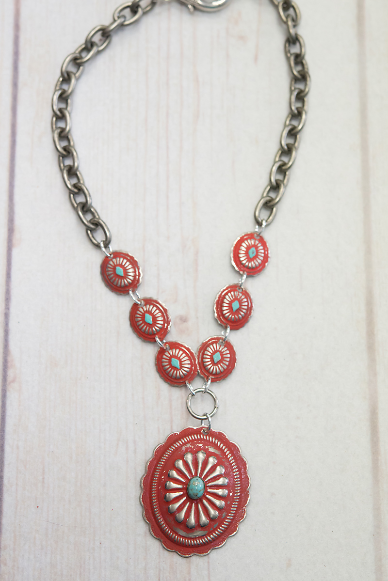 Red Concho Link Necklace(35N15)