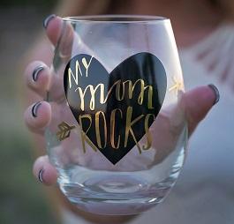 Mom Rocks Stemless Wine Glass(F150408)