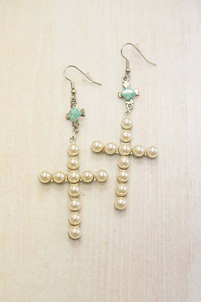 Pearl Cross Earrings With Turquoise