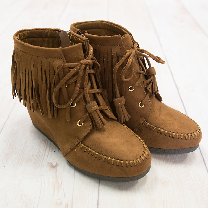 Tan Single Layer Fringe Moccasin Bootie