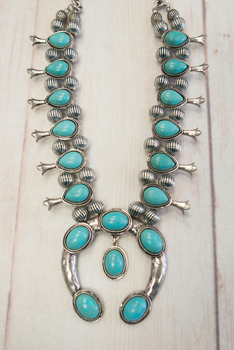Silver & Turquoise Squash Blossom With Dangle