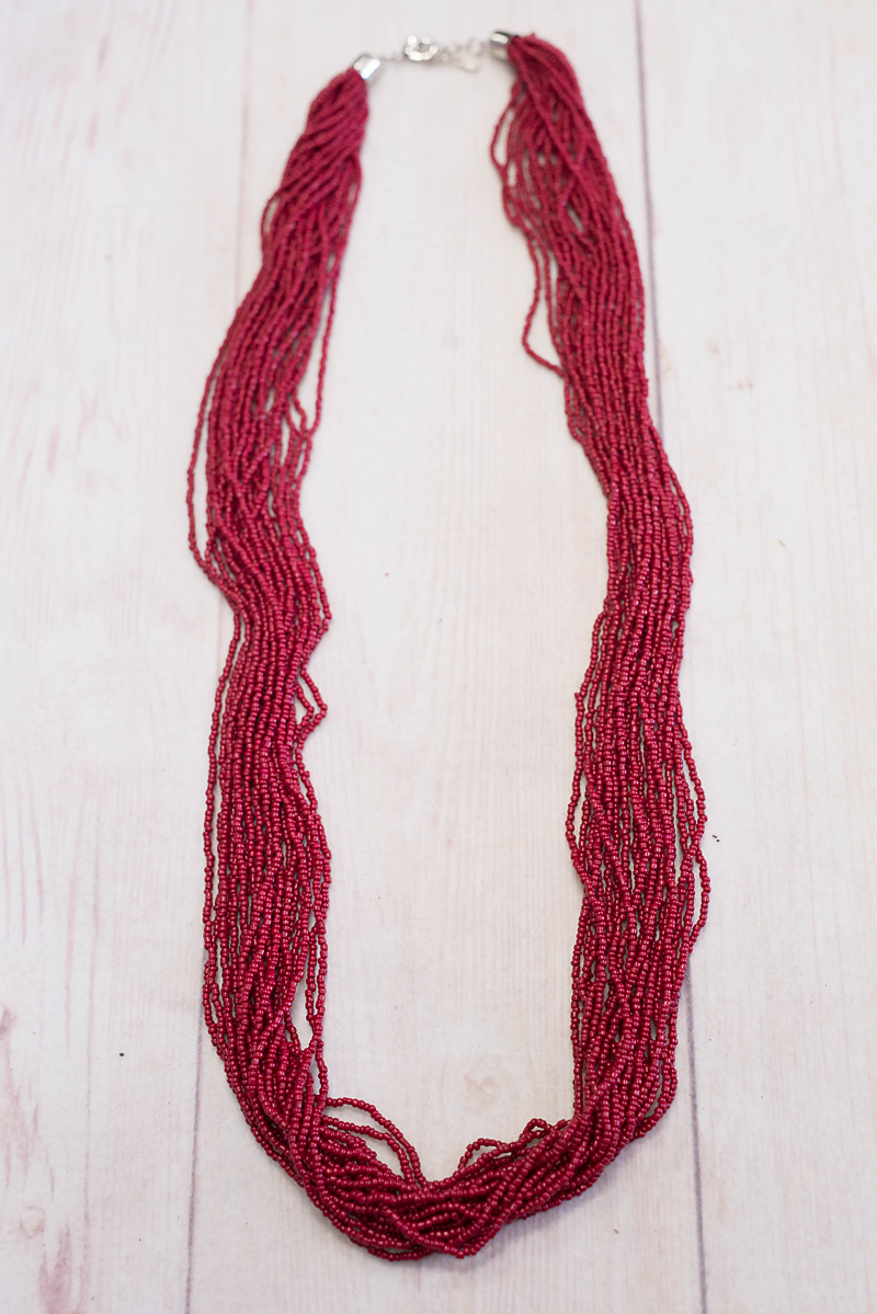 Multistrand Long Red Seed Bead Necklace