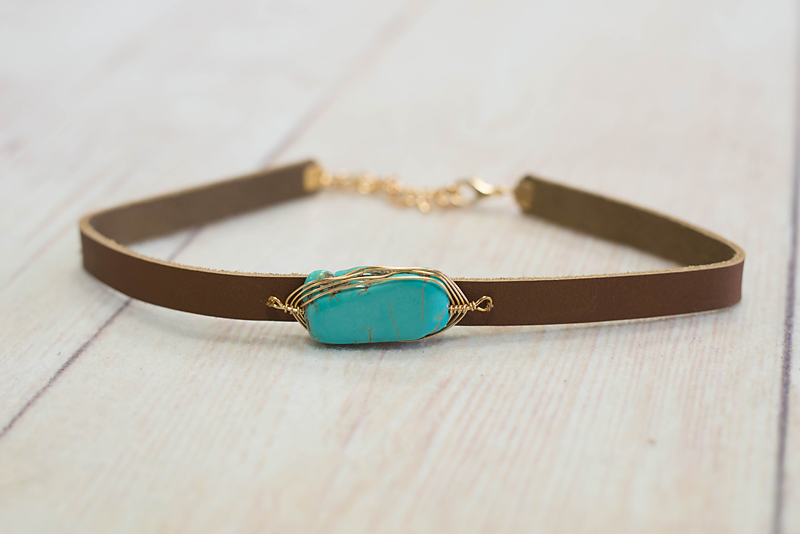 Turquoise with Gold Wire Wrap Choker