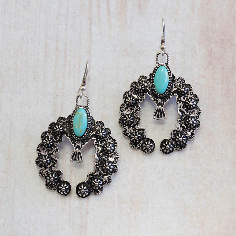 Silver Center Stone Naja Earring