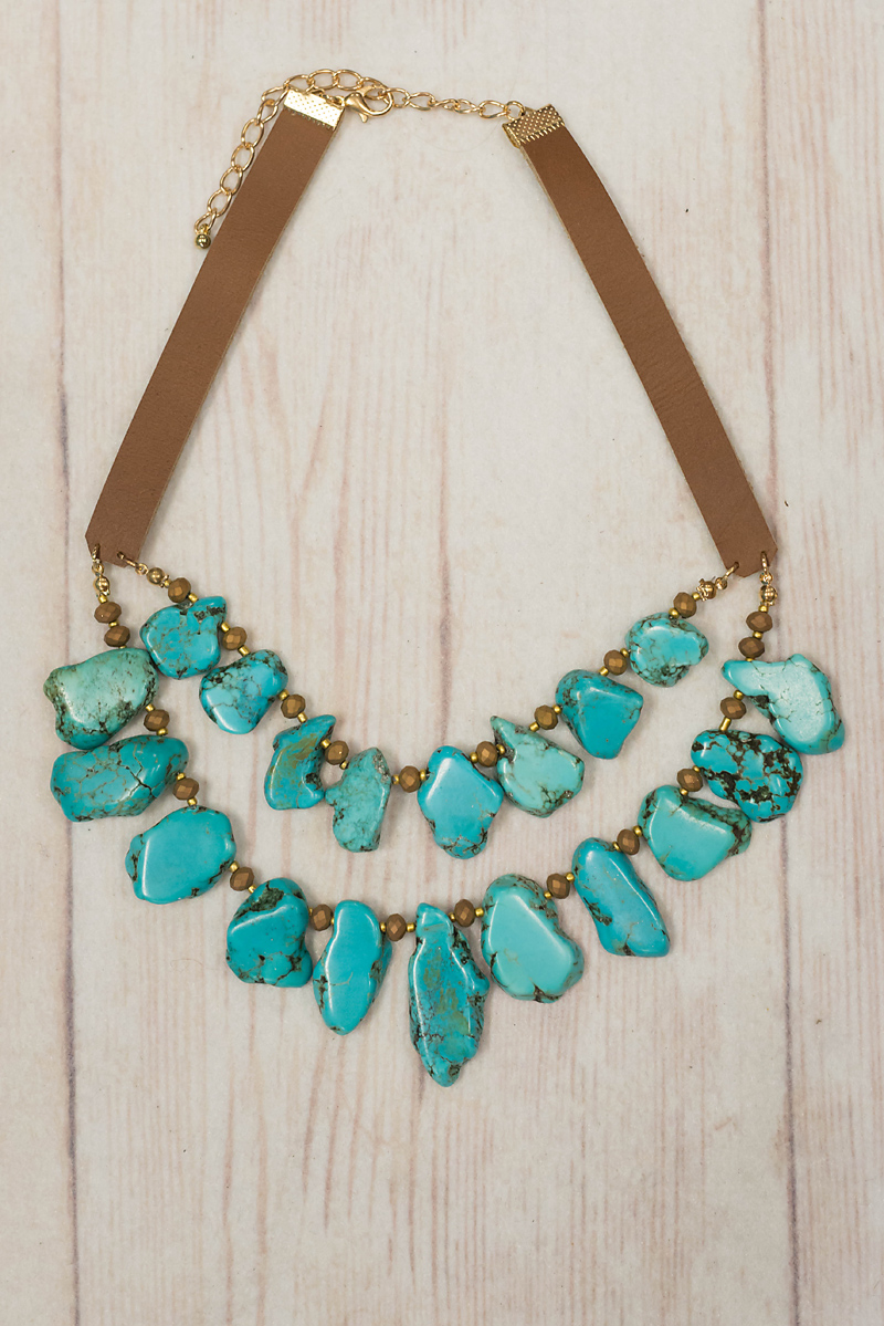 Turquoise Multi Nugget and Leather Necklace