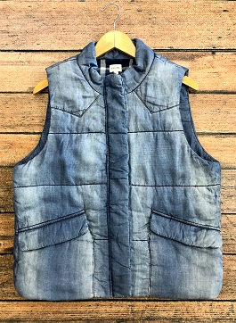 Denim Puffer Vest With Zipper