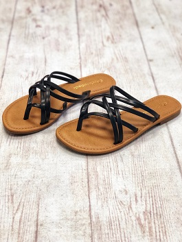 Black Multi Strap Slip On Sandal