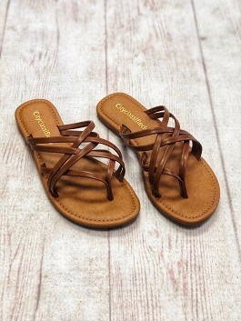 Tan Multi Strap Slip On Sandal