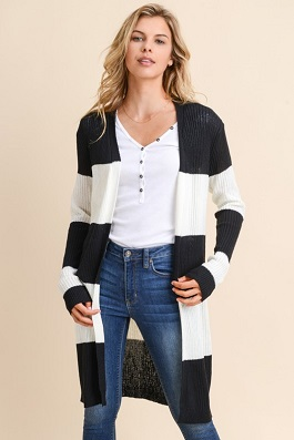 """Among The Lines"" Black & White Striped Cardigan"