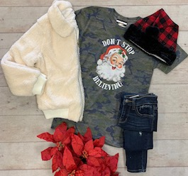 Don't Stop Believing Camo T-Shirt With Santa
