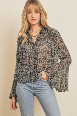 """""""Stardust"""" Button Down Bell Sleeve Top"""