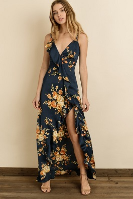 """Garden Of Dreams"" Navy Floral Maxi Ruffle Maxi Dress"