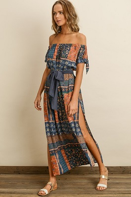 """Sedona"" Off The Shoulder Floral Maxi Dress With Slits"
