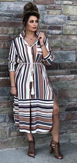 """""""Ophelia"""" Striped Button Down Midi Dress"""