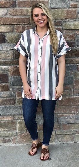 """School Girl"" Pink/Grey Striped Button Down Top"