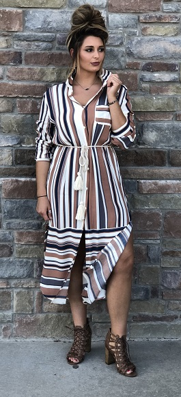 """Cherokee"" Striped Button Down Midi Dress"