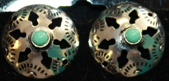 Silver Circular Earring with Turquoise