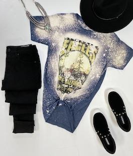 Eagles Navy Bleach Splash Graphic T-Shirt