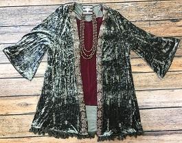 """Sophisticated Crush"" Crushed Velvet Embroidered Kimono"