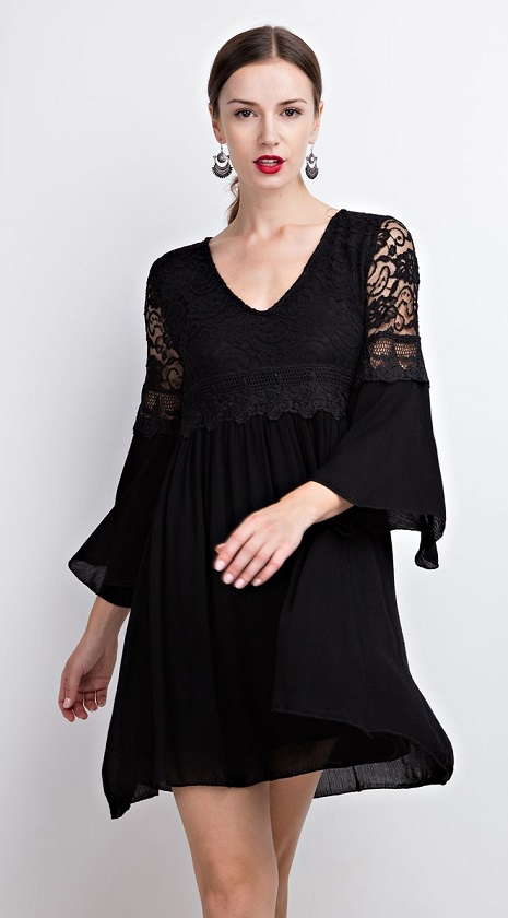"""Sophisticated Darkness"" Black Lace Bell Sleeve Dress"
