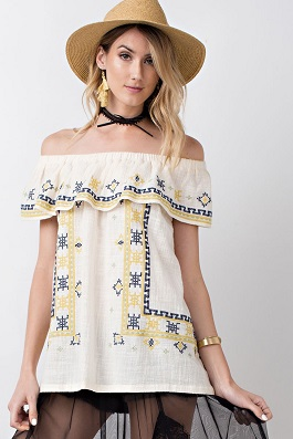"""Sunshine Vibes"" Off Shoulder Embroidered Top"