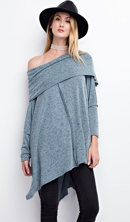 """""""Fade Away"""" Faded Teal Cowl Neck Long Sweater"""