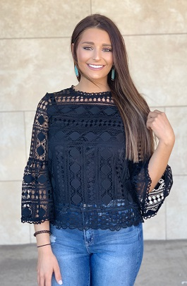 """Endless Love"" Black Lace Crochet Detail"
