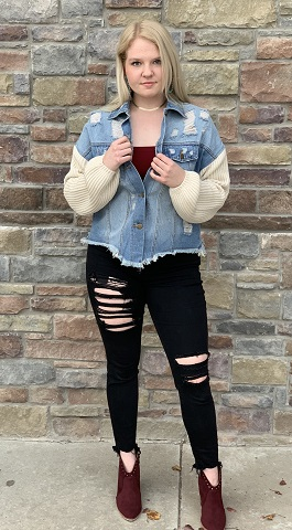 """Jenny"" Distressed Denim Jacket With Sweater Sleeves"