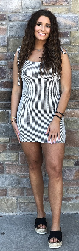 """Poolside Babe"" Black & White Striped Fitted Dress"