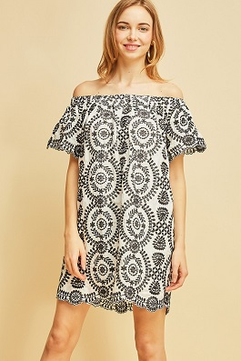 """Ophelia"" White and Black Embroidered Off Shoulder Dress"
