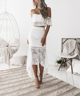 """Vibrant Life"" White Lace 2 Piece Set"