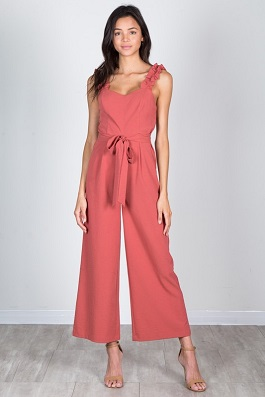 """Sunset Boulevard"" Terra Cotta Solid Jumpsuit With Ruffles"