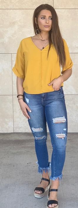 """Sunny"" Mustard V-Neck Solid Woven Top"