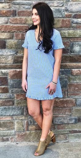 """""""Ashton"""" Light Blue Striped Ruffle Detail Dress"""