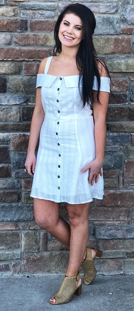 """""""Angelic Love"""" White Button Down Fit n Flare Dress"""