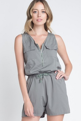 """Hideaway"" Army Green Sleeveless Short Romper"
