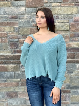 """Skye"" Light Teal Distressed Deep V Sweater"