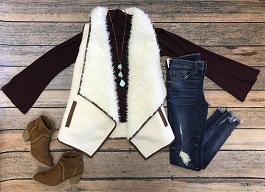 """Ruidoso Nights"" Faux Fur Vest With Leather Trim"