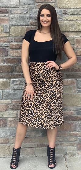 """""""Feeling Fierce"""" Leopard Print Mid Skirt"""