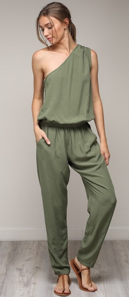 """Find Me"" Army Green One Shoulder Pant Jumpsuit"