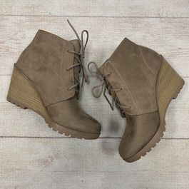 Taupe Lace Up Wedge Bootie