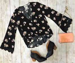 """Floral Melody"" Black Floral Criss Cross Top"