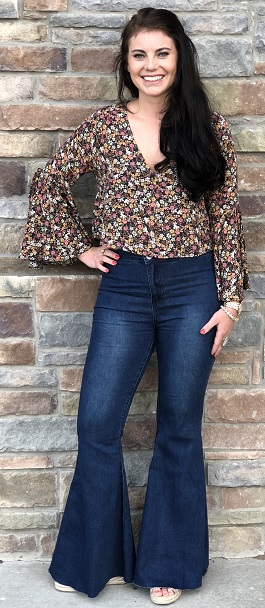 """Flower Child"" Floral Bell Sleeve Top"