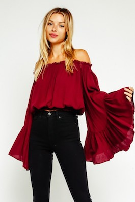 """Dreamer"" Trumpet Off Shoulder  Top"