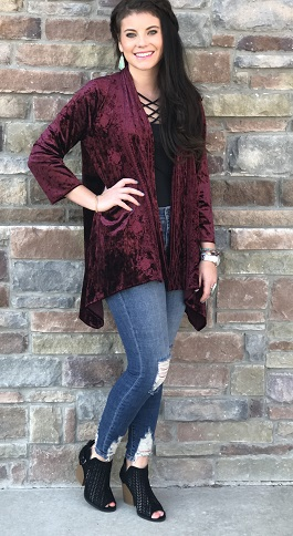 """""""Lady Lux"""" Velvet Embroidered Cardigan(M12044)"""