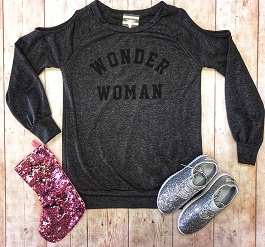 """Wonder Woman"" Charcoal Cold Shoulder Pullover"