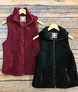 Burgundy & Black Fuzzy Vest